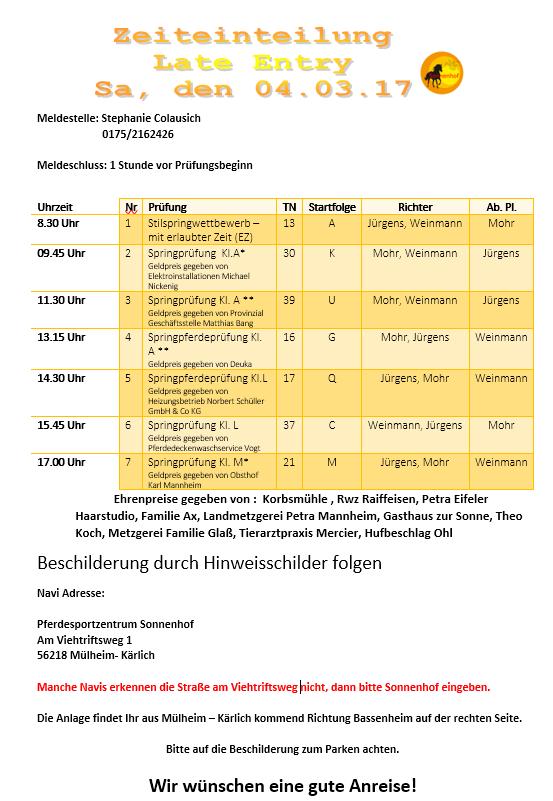 Pferdesportzentrum sonnenhof turniere for Innendekoration vankann gmbh